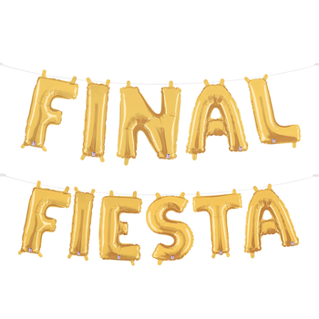 A gold balloon garland spelling out the phrase 'final fiesta'