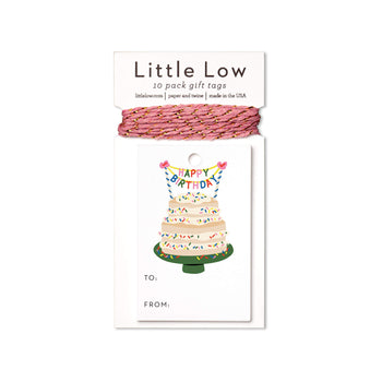 Funfetti Cake Gift Tags featuring a gift tag with a funfetti cake and twine in coordinating colors