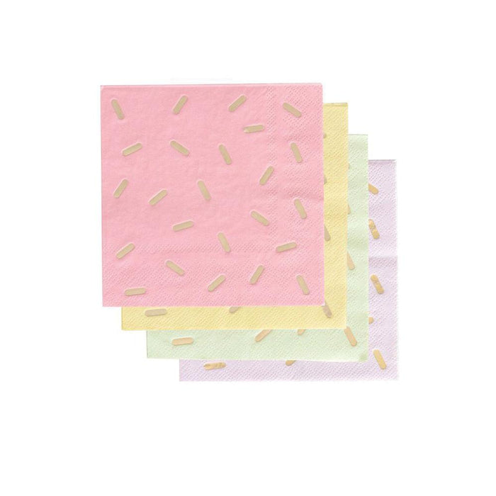 fun gelato sprinkle cocktail napkins in light shades of pink, yellow, mint green, and purple with gold foil spinkles