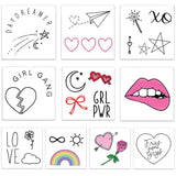 girl gang temporary tattoo pack - an assortment of cute girl empowering tattoos