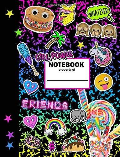 The girl power notebook is sure to help you stand out in a crowd with its fun multicolored book cover filled with emoji style graphics