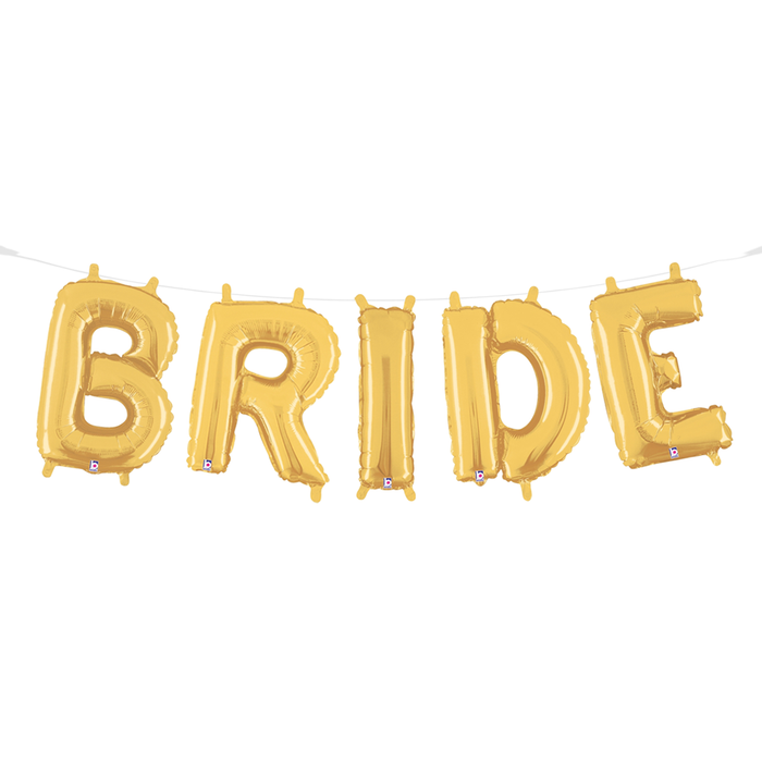 Gold colored bride balloon garland Mylar balloons handing on a twine string