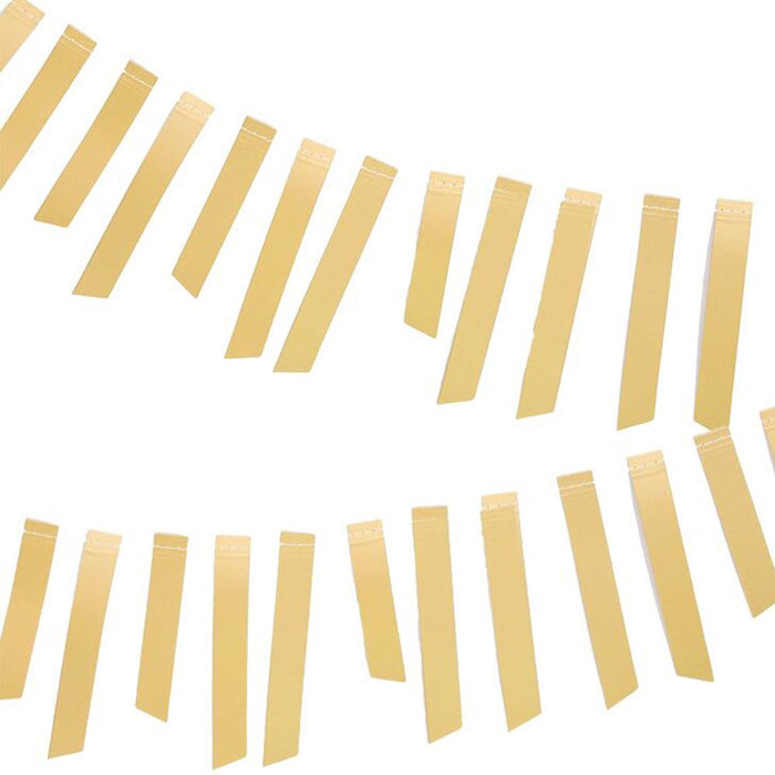 Gold foil stripe garland with gold foil strips cut at random lengths and strung on a 5' string