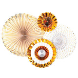 Golden party fans in different designs of solid gold, white with gold foil dots, and god and while striping