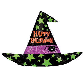 A black Halloween witch hat balloon in black with green stars of varying sizes and a purple stripe with spider web graphics and a happy looking spider. The hat has the words 'Happy Halloween' printed in orange