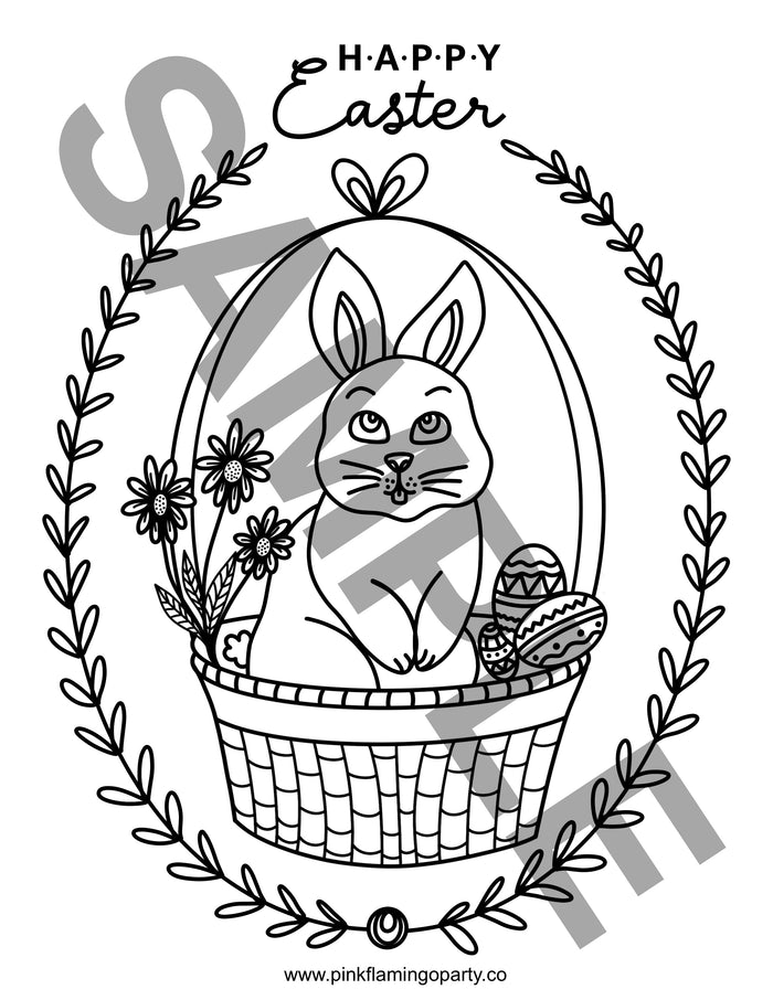 Happy Easter Bunny in a Basket FREE printable coloring sheet