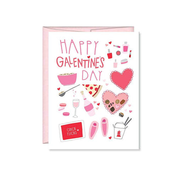 Happy Galentines Day Girls Night Out card takes a spin on Valentines Day with Galentines Day! A white card with the words 'Happy Galentines Day' and images of hearts, champagne, slippers, Chinese take-out boxes, and pizza for a gals night in.