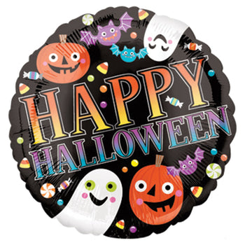 This happy Happy Halloween Mylar balloon is black with cute Halloween figures of ghosts, bats,  and jack-o-lanterns surrounded by an explosion of Halloween candy and the words 'Happy Halloween'
