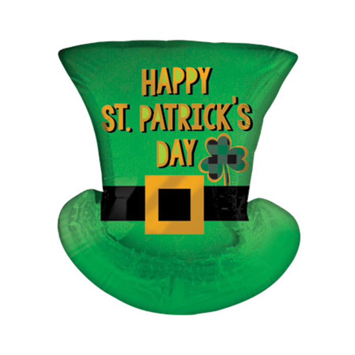 A green St. Patrick's day jumbo Mylar balloon shaped like a top had with the black buckle and the words 'Happy St. Patrick's Day' in gold.