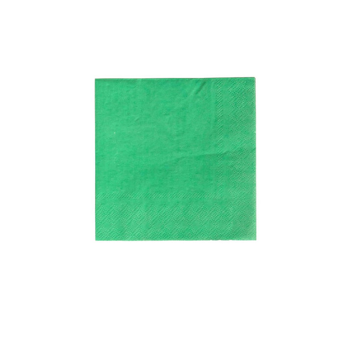 A cocktail napkin in Kelly Green