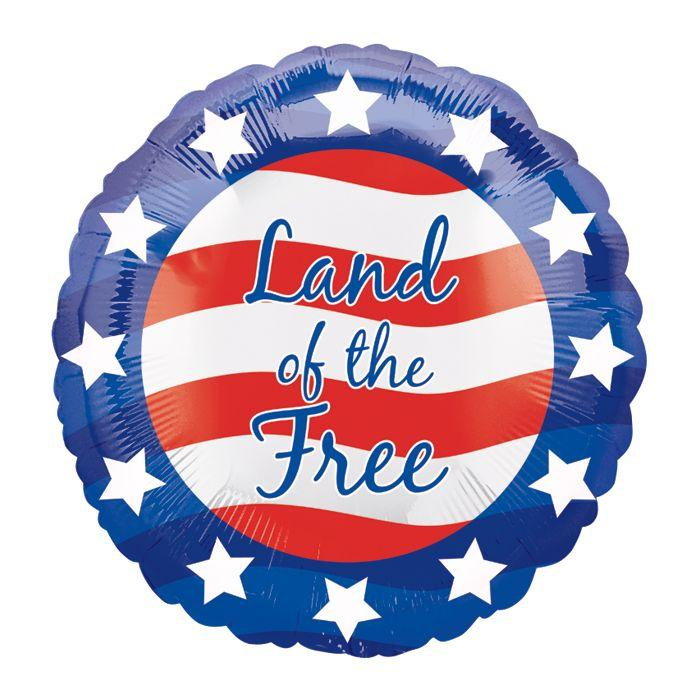 A patriotic circular Mylar balloon with patriotic colors of red white and blue featuring red and white stripes and stars surrounding the perimeter and the words 'land of the free'