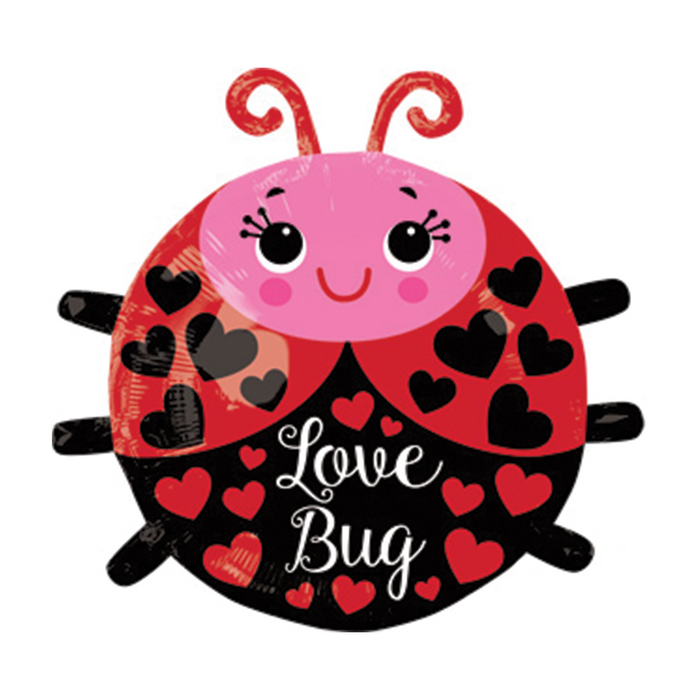 A Mylar balloon shaped like a ladybug colored red, black and pink with hearts all over.