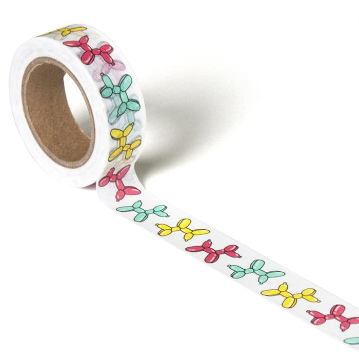 A roll of multicolored balloon dog washi tape