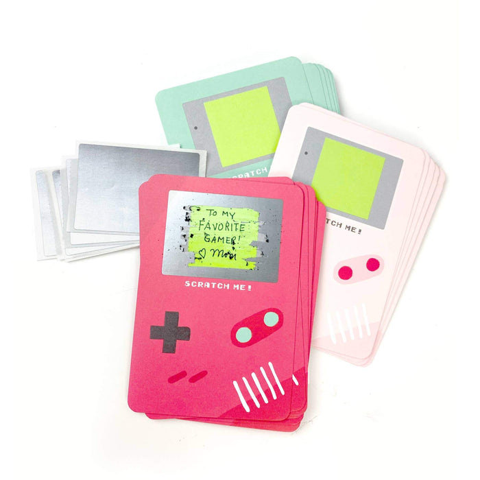 Valentine's day cards that look like classic game boy's with a screen that is able to be scratched off to reveal a special Valentine's day message