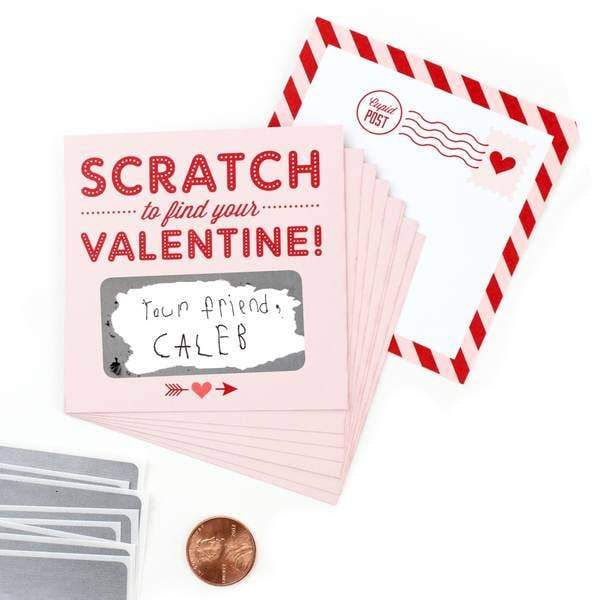 Valentines day cards with an area to write a special valentines day message that can be covered with a sticker that is able to be scratched off to reveal the message