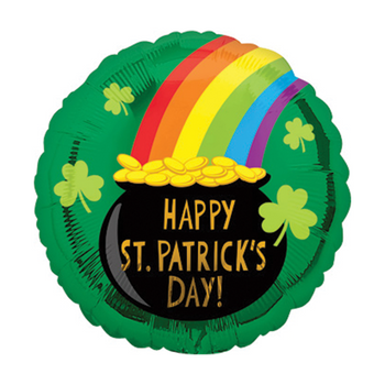A circular Mylar balloon in green with an image of a pot of gold at the end of a rainbow and some clovers sprinkled about. The black pot of gold has the text 'Happy St. Patrick's Day!' written on it.