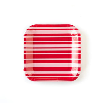 A disposable Valentine's day themed party plate in red with pink stripes