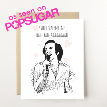 A white Valentine's day greeting card with an image of a singer in a tasseled jacket singing and the words 'Sweet Valentine Bah-Bah-BAAAAAAAAH'