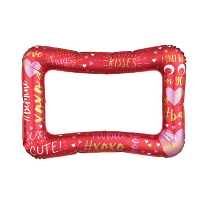 A Red Valentine's Day Mylar Balloon Frame, perfect for taking selfies