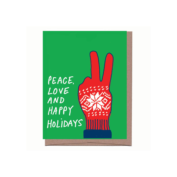 Peace Glove  Happy Holidays Greeting Card
