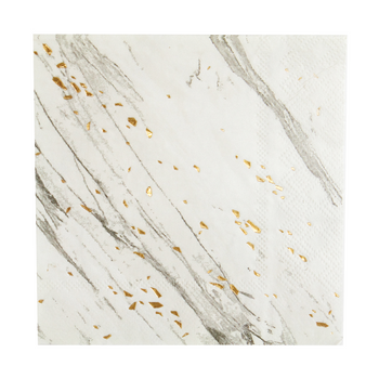 White Marble Paper Napkins with Gold Foil Detail