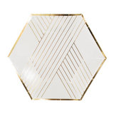 White Striped Gold Foil Small Plates