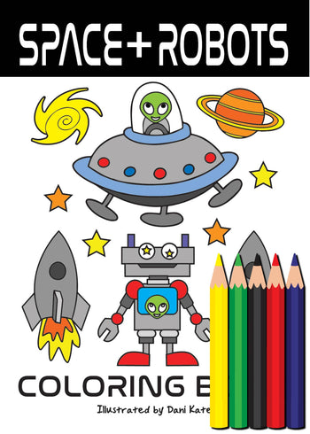 Space and Robots Mini Coloring Book