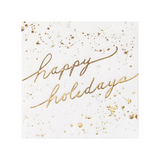 White and Gold Happy Holidays Cocktail Paper Napkin