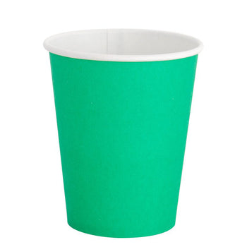 A disposable party cup colored in Kelly Green with a white lip
