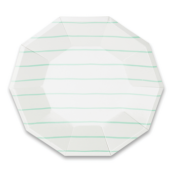 Mint Frenchie Striped Large Plates