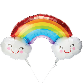 Rainbow Balloon with Clouds