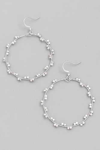 Beaded Circle Wire Drop Earrings