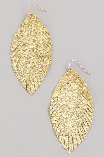 Glitter Leaf Drop Earrings