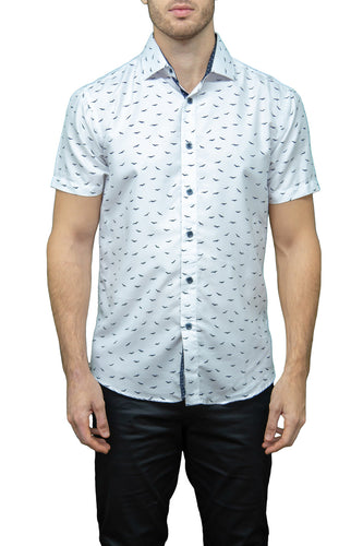 Short Sleeve White Shirt with Navy Birds