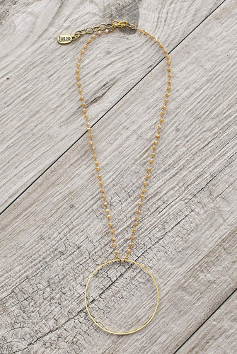 Beckie Hoop Necklace in Crystal