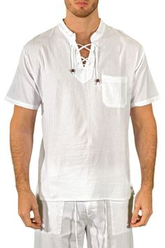 Drawstring Resort Shirt Collarless
