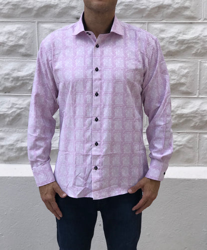 Pink Checkered Flower Shirt
