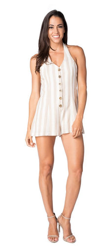 Logan Stripe Romper in Oatmeal