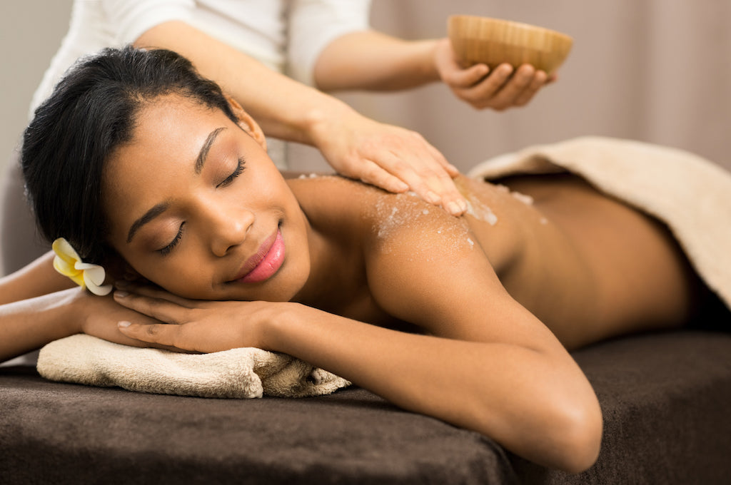 Self care body massage with salt scrub