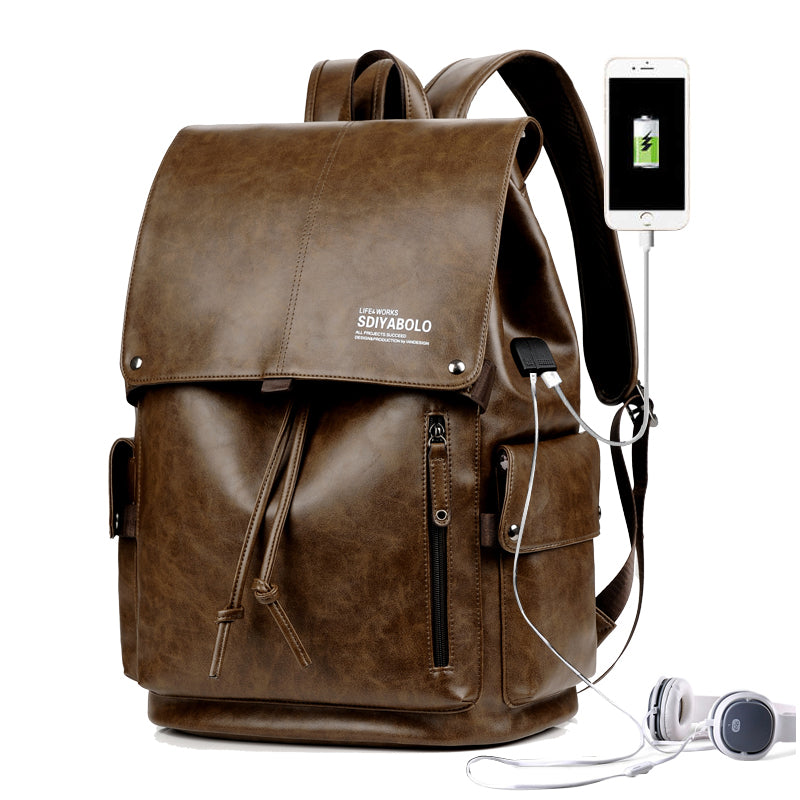 PU Leather Travel Antitheft Backpack  14 Inch Laptop Rucksack (Dark brown)