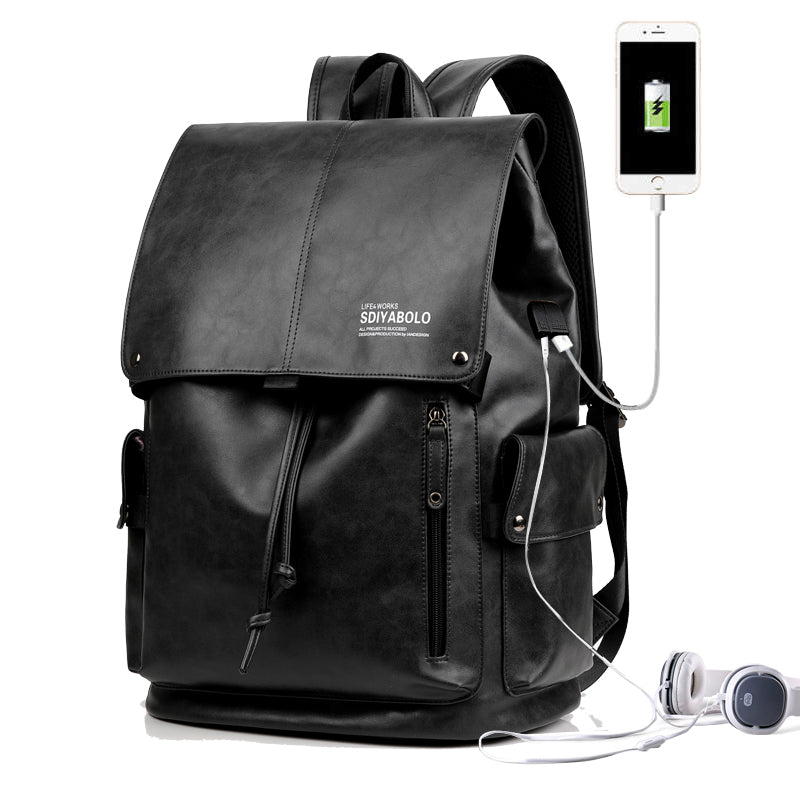 PU Leather Travel Antitheft Backpack  14 Inch Laptop Rucksack (Black)