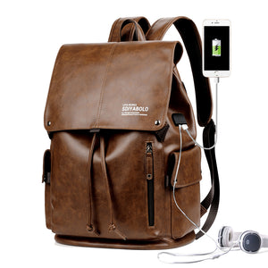 PU Leather Travel Antitheft Backpack  14 Inch Laptop Rucksack (Light brown) - Piketo