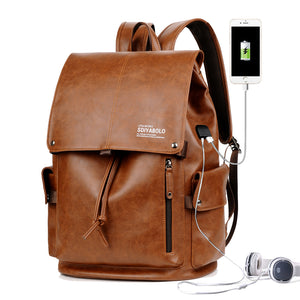 PU Leather Travel Antitheft Backpack  14 Inch Laptop Rucksack (Khaki) - Piketo