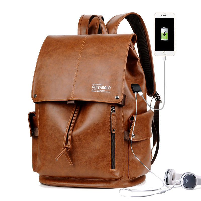 PU Leather Travel Antitheft Backpack  14 Inch Laptop Rucksack (Khaki)