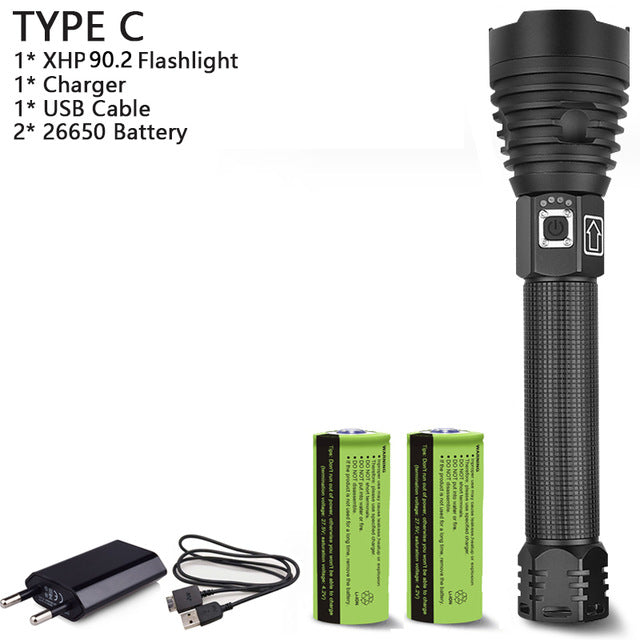 250000 lumens XHP90.2 most powerful led flashlight usb Zoom Tactical torch xhp50 Rechargeable battery hand light - Piketo