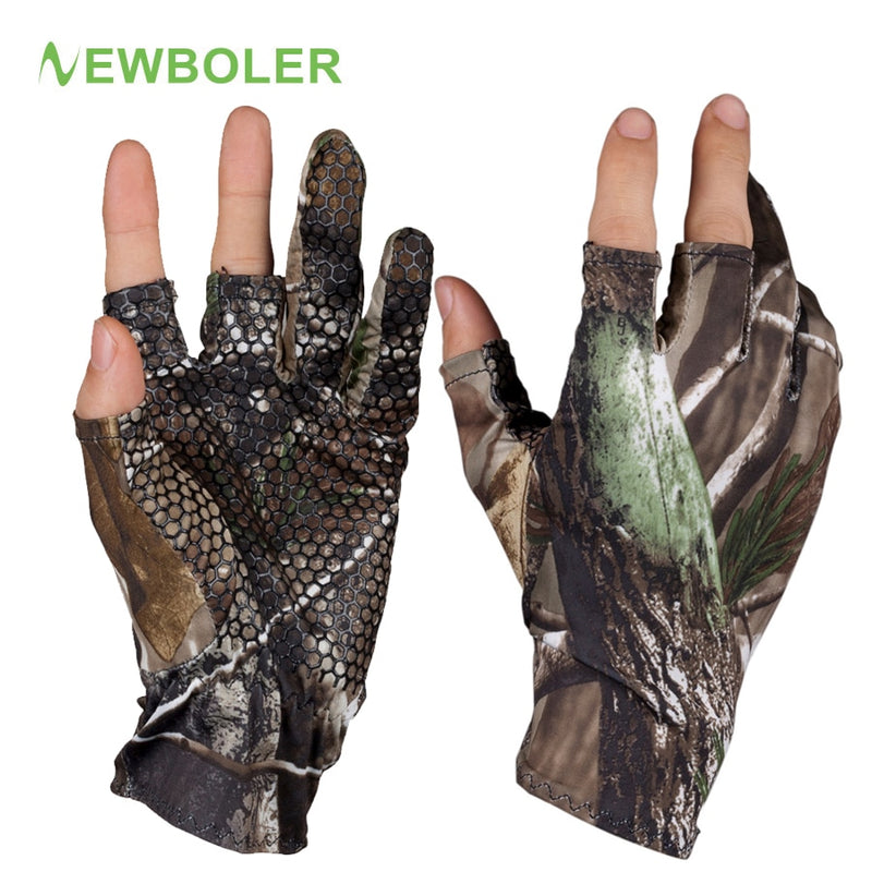 Fingerless Hunting Fishing Camo Gel Glove - Piketo