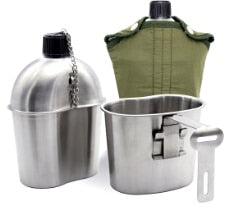 Stainless Steel Military Canteen 1L Portable with 0.5 L Cup Green Cover Camping Hiking Army Camping Picnic Travel Accessories - Piketo
