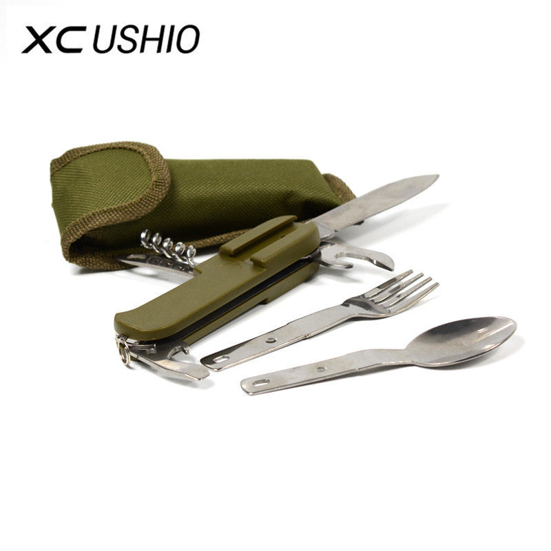 Stainless Steel Outdoor Cutlery Knife Fork Spoon Bottle Opener - Piketo