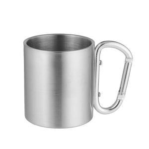 180ml Stainless Steel Cup for Camping Cup Double Wall Mug with Carabiner Hook Handle