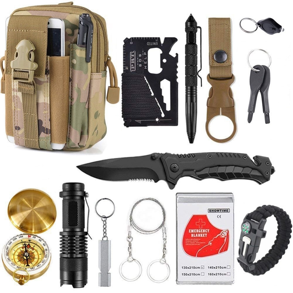 13 in 1 survival Gear kit Set Outdoor Camping Travel Survival Tactical Tools